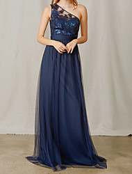 cheap -A-Line One Shoulder Floor Length Chiffon / Tulle Bridesmaid Dress with Appliques