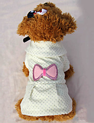 cheap -Dogs Cats Pets Dress Winter Dog Clothes Pink Beige Costume Baby Small Dog Polyster Bowknot Dresses&Skirts XS S M L