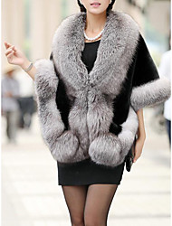 cheap -Women's Daily Sexy / Sophisticated Fall & Winter Short Fur Coat, Solid Colored V Neck / Turndown 3/4 Length Sleeve Polyester / Others Patchwork Black / Wine / White