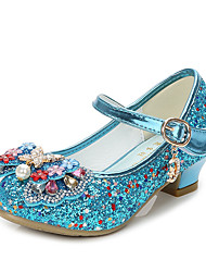 cheap -Girls' Flower Girl Shoes Synthetics Heels Little Kids(4-7ys) / Big Kids(7years +) Bowknot / Sequin Silver / Blue / Pink Spring / Fall / Party & Evening / Rubber