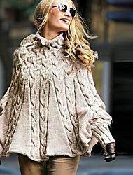 Недорогие -Жен. Однотонный Длинный рукав Пуловер, Хомут Хаки S / M / L