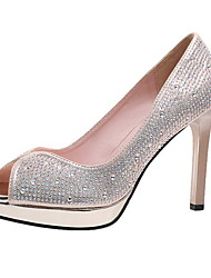 cheap -Women's Heels Glitter Crystal Sequined Jeweled Stiletto Heel Peep Toe Microfiber Summer Gold / Silver / Daily