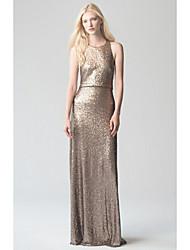 cheap -Sheath / Column Halter Neck Sweep / Brush Train Sequined Bridesmaid Dress with Sequin / Sparkle & Shine