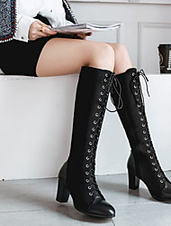 cheap -Women's Boots Knee High Boots Chunky Heel Round Toe PU Knee High Boots Winter Black / Brown / Green