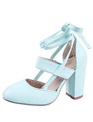 cheap -Women's Heels Chunky Heel Round Toe PU Summer Black / Red / Blue