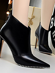 cheap -Women's Boots Stiletto Heel Pointed Toe Rivet Suede / PU Booties / Ankle Boots Vintage / Minimalism Spring &  Fall / Fall & Winter Black / Black / Silver / Party & Evening