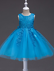 cheap -Princess Knee Length Party / Pageant Flower Girl Dresses - Polyester / Tulle Sleeveless Jewel Neck with Lace / Appliques