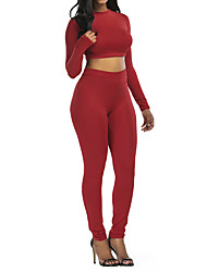 cheap -Women's Cropped Yoga Suit Solid Color Elastane Yoga Fitness Gym Workout Leggings Crop Top Long Sleeve Activewear Breathable Moisture Wicking Quick Dry Butt Lift High Elasticity Slim