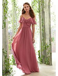 cheap -A-Line Spaghetti Strap Floor Length Chiffon Bridesmaid Dress with Ruching / Ruffles / Open Back