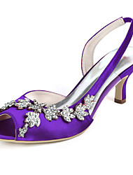 cheap -Women's Wedding Shoes Stiletto Heel Peep Toe Rhinestone Satin Minimalism Fall / Spring & Summer Black / White / Purple / Party & Evening
