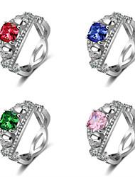 cheap -Women's Ring 1pc Green Blue Pink Copper Circular Basic Fashion Gift Jewelry