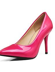 cheap -Women's Heels Stiletto Heel Pointed Toe Faux Leather Casual / Minimalism Spring & Summer Black / Wine / Fuchsia