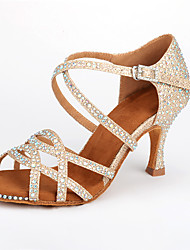 cheap -Women's Dance Shoes Synthetics Latin Shoes Sparkling Glitter / Crystals / Glitter Heel Flared Heel Customizable Almond / Practice