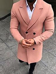 abordables -Homme Quotidien Automne hiver Normal Manteau, Couleur Pleine Revers Cranté Manches Longues Nylon Noir / Rose Claire / Vert Véronèse