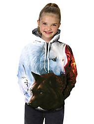 cheap -Kids Toddler Girls' Active Basic Wolf Geometric Print Color Block Print Long Sleeve Hoodie & Sweatshirt White / Animal