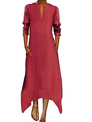 cheap -Women's Plus Size A Line Dress - Solid Colored V Neck Black Wine White S M L XL