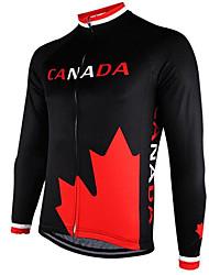 Недорогие -21Grams Канада Флаги Муж. Длинный рукав Велокофты - Черный / красный Велоспорт Джерси Верхняя часть Сохраняет тепло Устойчивость к УФ Дышащий Виды спорта Зима Флис 100% полиэстер / Эластичная
