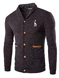 cheap -Men's Solid Colored Long Sleeve Cardigan Sweater Jumper, V Neck Wine / Light gray / Dark Gray US32 / UK32 / EU40 / US34 / UK34 / EU42