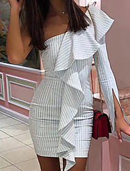 cheap -Women's Basic Sheath Dress - Striped White S M L XL
