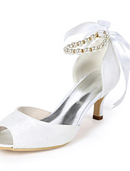 cheap -Women's Wedding Shoes Stiletto Heel Peep Toe Imitation Pearl / Ribbon Tie Lace Sweet Fall / Spring & Summer White / Ivory / Light Purple / Party & Evening