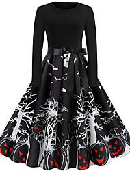cheap -Audrey Hepburn Dress Adults' Women's Vintage Halloween Halloween Festival / Holiday Cotton / Polyester Blend Black Women's Carnival Costumes Pumpkin