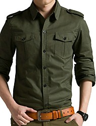 cheap -Men's Daily Shirt - Solid Colored Army Green / Long Sleeve