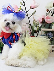 cheap -Dogs Outfits Dress Dog Clothes Light Blue Yellow Blue Costume Polyster Color Block Wedding XS S M L XL