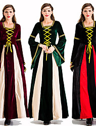 cheap -Princess Retro Vintage Medieval Dress Masquerade Women's Costume Black / Green / Red Vintage Cosplay Party Halloween Festival Long Sleeve Ankle Length Princess
