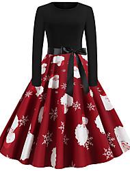 cheap -Women's Festival Basic Sheath Dress - Snowflake Santa Claus, Patchwork Wine Green S M L XL