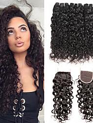 cheap -3 Bundles with Closure Peruvian Hair Curly Water Wave Virgin Human Hair 100% Remy Hair Weave Bundles Natural Color Hair Weaves / Hair Bulk Bundle Hair Human Hair Extensions 8-24 inch Black Natural
