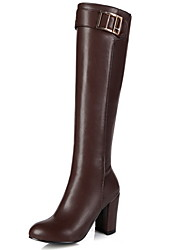 cheap -Women's Boots Knee High Boots Chunky Heel Round Toe PU Knee High Boots Fall & Winter Black / Brown / Almond