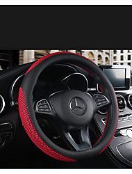 cheap -Breathable and wear-resistant leather steering wheel cover four seasons universal leather car handles hand-sewed square plate