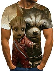 cheap -Men's Plus Size 3D Graphic Pleated Print T-shirt Street chic Weekend Round Neck Khaki / Summer / Short Sleeve / Animal