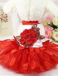 abordables -Chiens Robe Vêtements pour Chien Rouge Costume Polyester Floral / Botanique Mariage XS S M L XL XXL