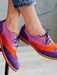 cheap -Women's Flats Flat Heel Round Toe PU Summer Dark Purple / Light Purple