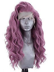 cheap -Synthetic Lace Front Wig Wavy Side Part Lace Front Wig Long Bleach Blonde#613 Green Black / Grey Purple Dark Purple Synthetic Hair 18-26 inch Women's Adjustable Heat Resistant Party Purple