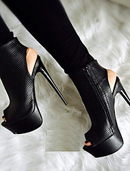 cheap -Women's Boots Stiletto Heel Peep Toe Suede / PU Booties / Ankle Boots Spring &  Fall Black