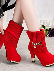 cheap -Women's Boots Chunky Heel Pointed Toe Suede Booties / Ankle Boots Vintage / Minimalism Spring &  Fall / Fall & Winter Black / Red
