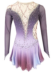 cheap -21Grams Figure Skating Dress Women's Girls' Ice Skating Dress Purple Light Purple Royal Blue Open Back Spandex Stretch Yarn High Elasticity Training Skating Wear Solid Colored Classic Crystal