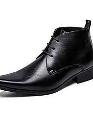 cheap -Men's Leather Shoes PU Summer Boots Black / Brown / Office & Career