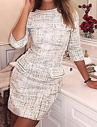 cheap -Women's White Dress Basic Daily Wear Bodycon Houndstooth XS S