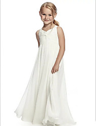 cheap -A-Line Round Neck Floor Length Chiffon Junior Bridesmaid Dress with Side Draping / First Communion