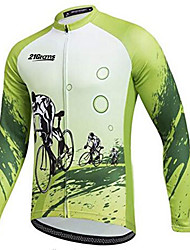 cheap -21Grams Men's Long Sleeve Cycling Jersey Army Green Bike Jersey Top Mountain Bike MTB Road Bike Cycling Thermal / Warm UV Resistant Breathable Sports Winter 100% Polyester Clothing Apparel / Stretchy