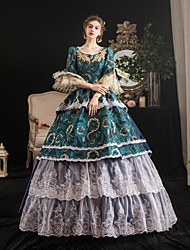 cheap -Maria Antonietta Rococo Baroque Victorian Dress Party Costume Women's Lace Satin Costume Green Vintage Cosplay Party Halloween Party & Evening Half Sleeve Floor Length Ball Gown Plus Size