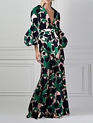 cheap -Women's Elegant A Line Dress - Geometric Green S M L XL