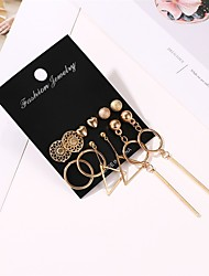cheap -Women's Earrings Geometrical Heart Earrings Jewelry Gold For Holiday 6 Pairs
