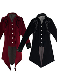 cheap -Plague Doctor Steampunk Tuxedo Frock Coat Men's Velvet Costume Black / Red Vintage Cosplay