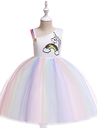 cheap -Unicorn Dress Cosplay Costume Masquerade Girls' Movie Cosplay A-Line Slip Cosplay Halloween Purple / Yellow Dress Halloween Children's Day Masquerade Tulle Poly / Cotton Blend