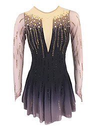 cheap -21Grams Figure Skating Dress Women's Girls' Ice Skating Dress Coffee Open Back Spandex Stretch Yarn High Elasticity Training Skating Wear Solid Colored Classic Crystal / Rhinestone Long Sleeve Ice