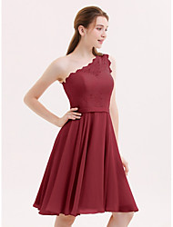 cheap -A-Line One Shoulder Knee Length Chiffon / Lace Bridesmaid Dress with